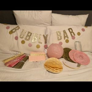 25 Piece Pink, Gold & Ivory Party Decor Set